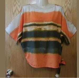 Michael Kors Watercolor Earthtone Side Tie Top